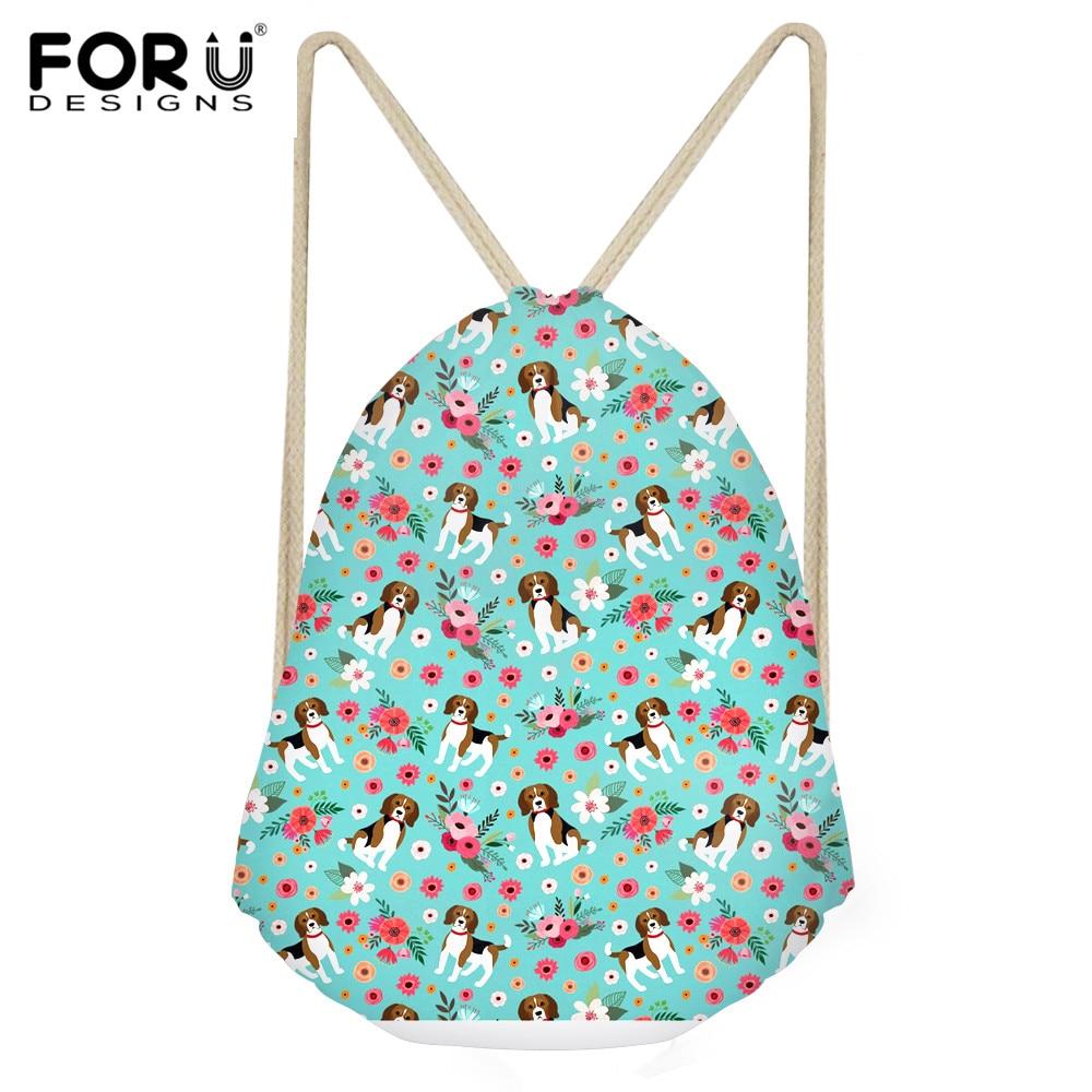 INSTANTARTS 2019 Beagle Dog Flower Pattern Drawstring Bags Drawstring Backpack Boys Girl Small Beach String Shoulder