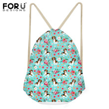 INSTANTARTS 2019 Beagle Dog Flower Pattern Drawstring Bags Drawstring Backpack Boys Girl Small Beach String Shoulder Bag Satchel