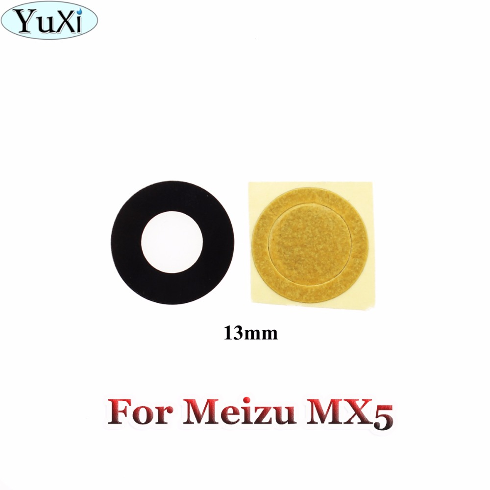 YuXi 1pcs New Rear Camera Lens Glass With Frame Repair Replacement For Meizu MX5 Mx 5 With Sticker