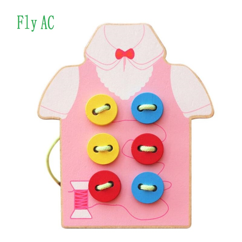 Fly AC Kids Fine Motor Skills Toy-Wooden Sewing On Buttons, Lacing Beads Board Toys, Sewing Play Kit Educational Toy For Kids