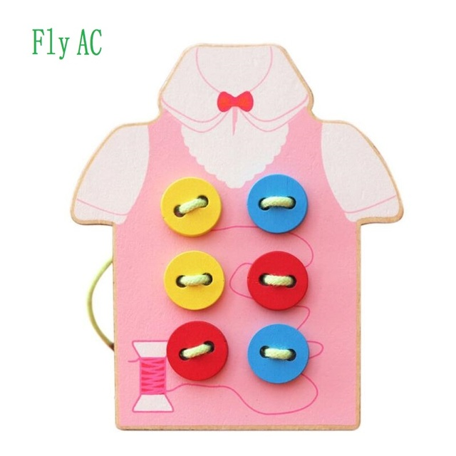Fly Ac Kids Fine Motor Skills Toy Wooden Sewing On Buttons Lacing