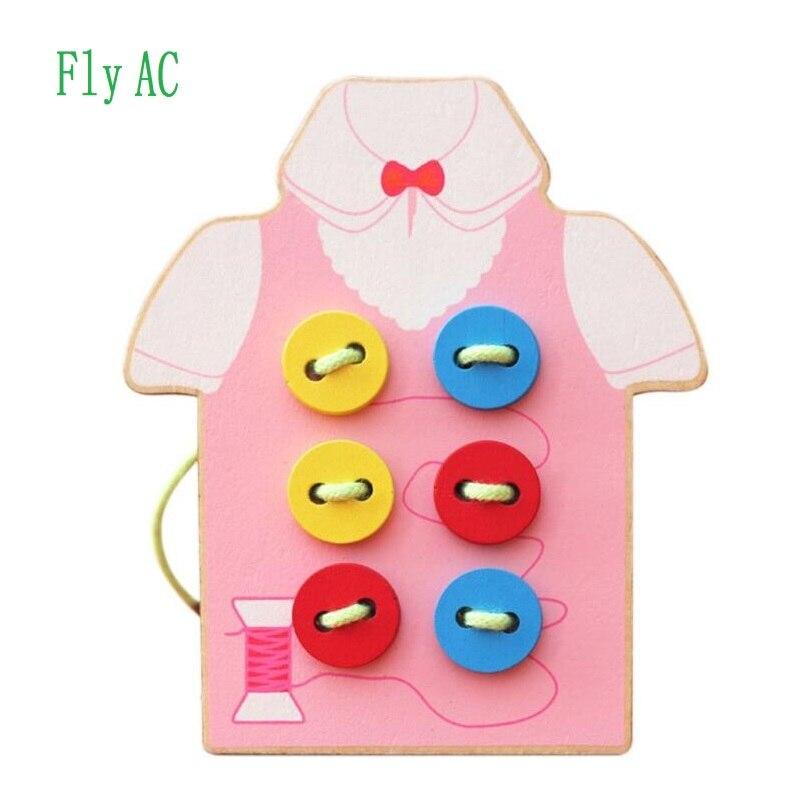 Fly AC enfants Fine motricité jouet-bois couture sur boutons, perles de laçage conseil jouets, Kit de jeu de couture jouet éducatif pour les enfants