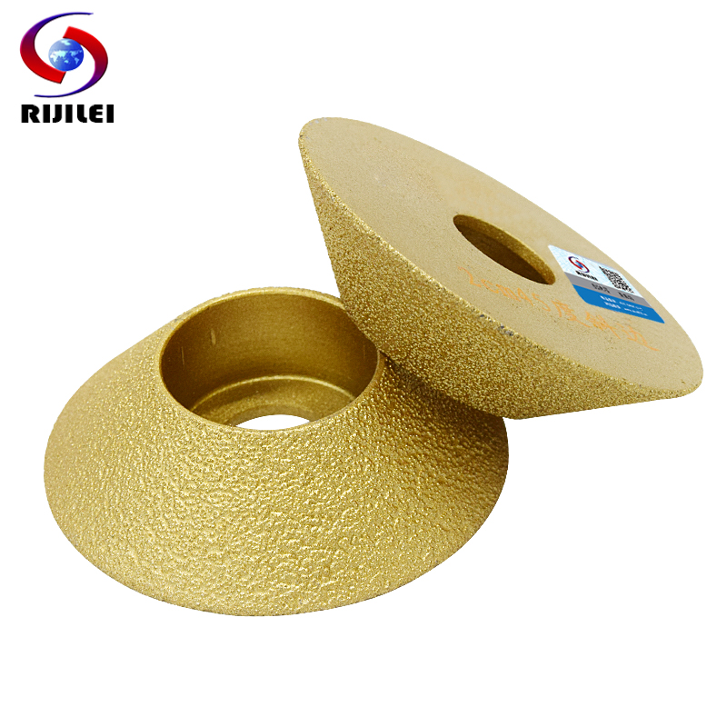 RIJILEI 74mm Brazed Diamond Profile Wheel 45 Degree Single Angle Grinder Granite Edging Disc Diamond Grinding Wheel MX50