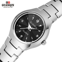 Бренд GUANQIN женские часы кварцевые часы кварцевые часы часы часы женщины дамы старинные relógio feminino кристалл стали Вольфрама