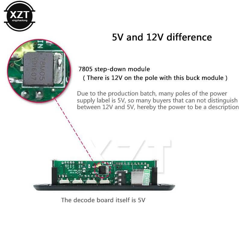 5 v 12 v carro mic mp3 decodificador placa de decodificação jogador módulo suporte fm rádio usb/tf lcd tela controle remoto