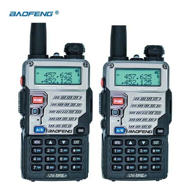 2Pcs Baofeng UV 5RE Walkie Talkie Dual Band CB Radio UV 5R 5W 128CH UHF VHF Portable Two Way Radio Station Hunting Transceiver