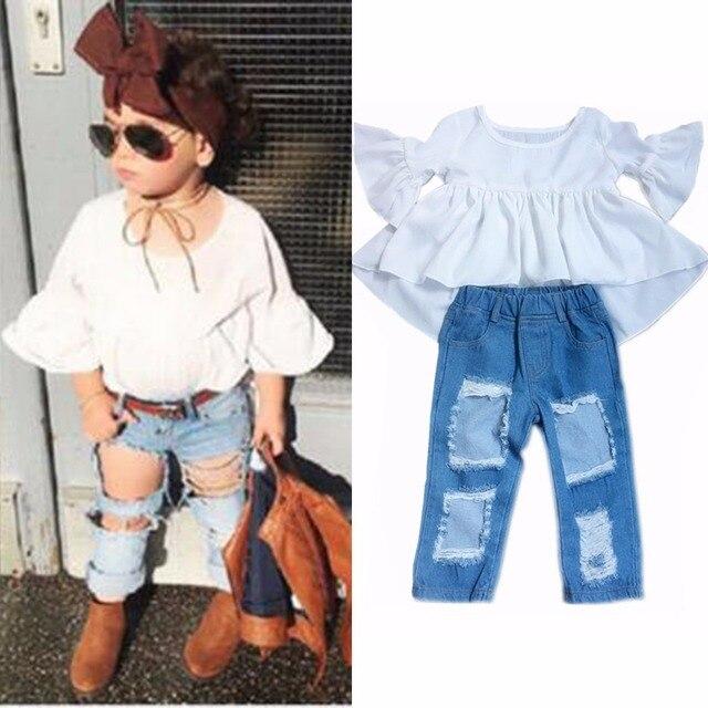 079081f0c Fashion Children Girls Half Ruffled Sleeve Chiffon Top Shirt+Hole Denim  Pant Jean Kids Clothes 2pcs/Set Clothing Outfits