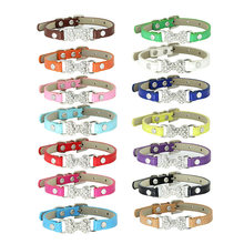 Light Leather Rhinestone Bone Pet Cat Collar Necklace Jewelry for Girl Kitten Teacup Chihuahua Small Dog Clothes Costume Outfits(China)