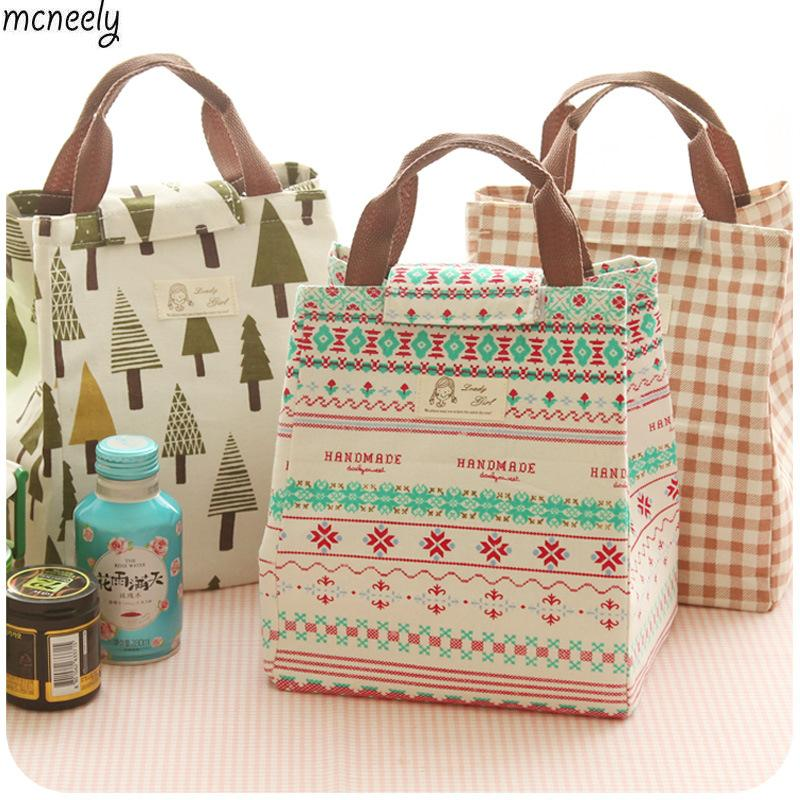 New Fashion Portable Insulated Canvas Lunch Bag New Portable Lunch Bag Thermal Insulated Snack Lunch Box Carry Tote Storage Bag