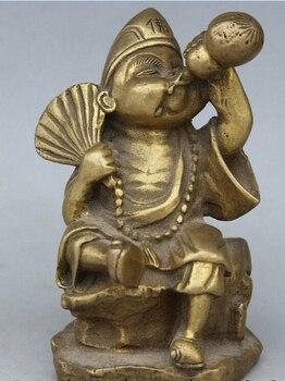 588670>>>Chinese Buddhism Brass Seat Ji gong Monk Buddha Drink Fan Statue Sculpture