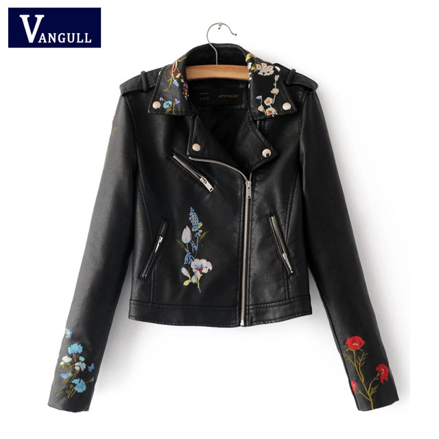 c703a602c1 Embroidery faux leather coat Motorcycle zipper wine red leather jacket  women Fashion cool outerwear winter jacket Free shipping