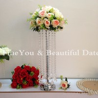 Cheapest! 15pcs/lot 55cm 21.6inch quality glass crystal metal wedding decoration table centerpieces
