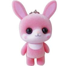 Creative cartoon pink rabbit flocking doll keychain female cute car bag key chain ring pendant