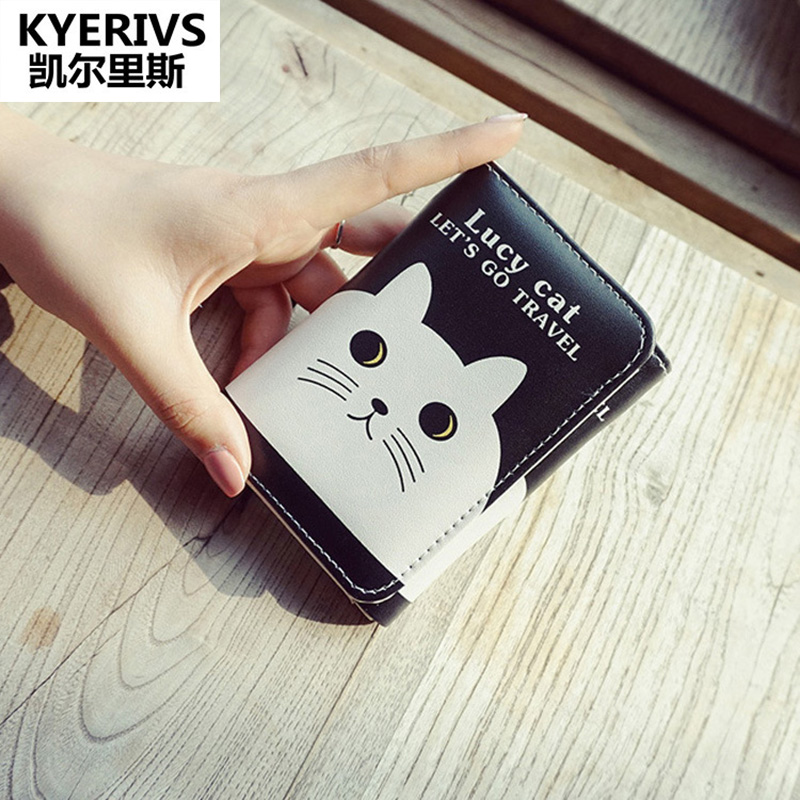 2017 Korea Cute Cat Pu Leather Wallet Women Small Clutch Purses Female Purse Card Holder Women Wallets Small Wallet Mini Purse dollar price women cute cat small wallet zipper wallet brand designed pu leather women coin purse female wallet card holder