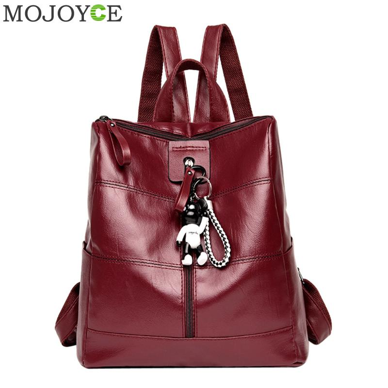 Soft PU Leather Women Backpacks Fashion Black Backpacks for Teenager Girls Travel Daypack Student Soft Shoulder Bags Mochila Hot