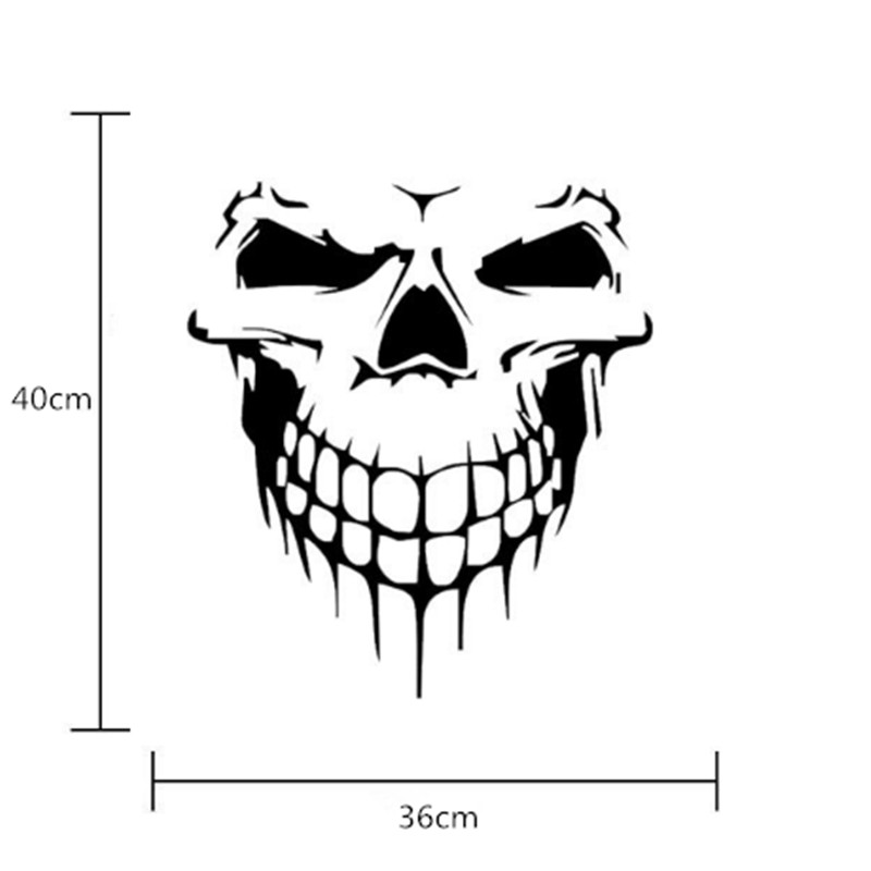 1 Pc Big Size 40x36cm Punisher Skull Head Car Sticker Engine Hood