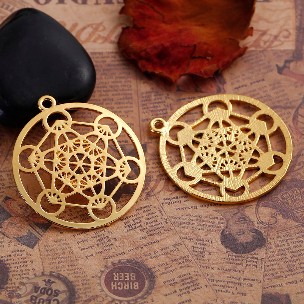 DoreenBeads Zinc Based Alloy Gold Color Round Merkaba Meditation Hollow Pendants DIY Components 44mm x 40mm(1 5/8), 3 PCs
