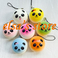 squishies wholesale 40pcs kawaii colorful panda squishy bun kids toy lanyard for keys pendant for mobile phone Free Shipping