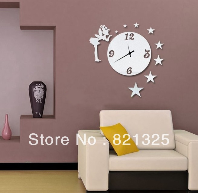 Free Shipping Fashion DIY Wall Clocks Fairy With Stars Vintage Bedroom Art Decor Unique Items Childrens Room Watches In From Home