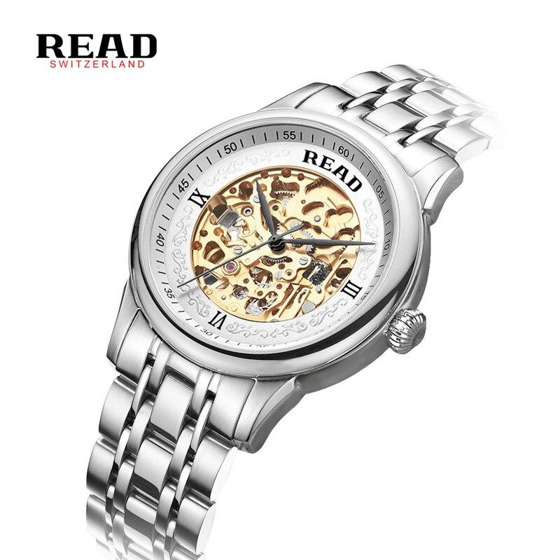 READ Luxury brand automatic mechanical watch Men s Fashion Hollow Business Watch relogio masculino full steel