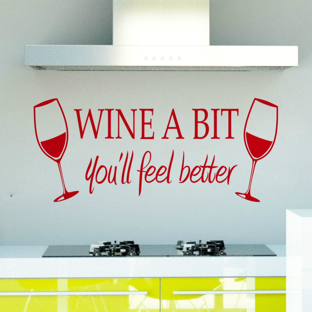 Free shipping Wine A Bit Vinyl Wall Art Wall Quote Sticker ZY8209 ...