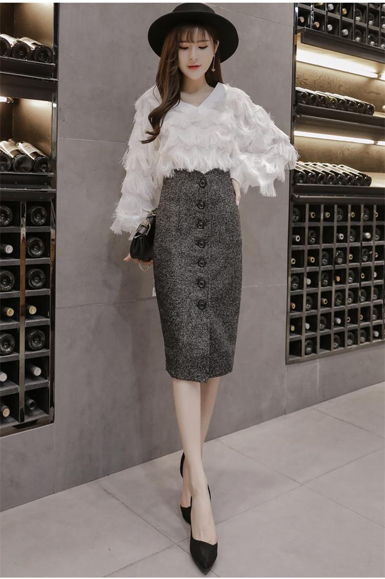 Neophil High Waist Woolen Button Pencil Midi Skirts Office Ladies Office Elegant Grey 19 Winter Wool Wrap Skirts Faldas S1738 13