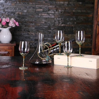 5pcs/set Vintage Flower Wine Decanter High Quality Enamels Glass Red Wine Goblet Home Party Whiskey Glass Best Gift