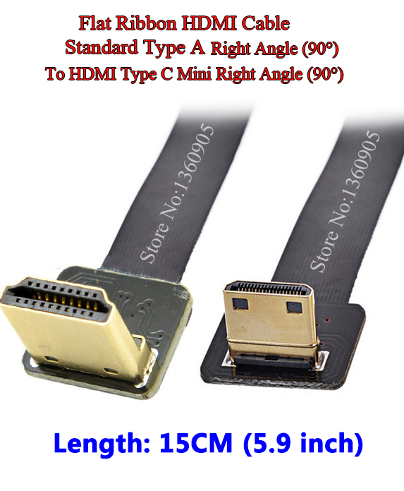 15CM Ultra Thin Soft FPV HDMI Cable Mini Type C Male to Male Standard Right Angle 90degree for 5D3 5D2 GH3 GH2 5N 5T 5R 7N DJI 80 channels hdmi to dvb t modulator hdmi extender over coaxial