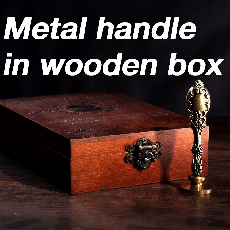 New Customize Stamp With Wood Box Retro Style Sealing Wax Stamp Set Deluxe Gift Set 26