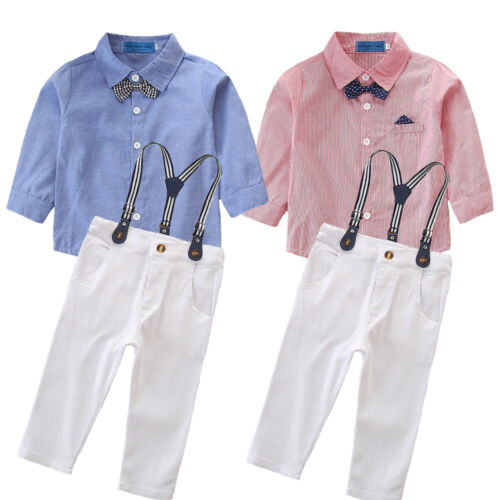 Baby Boy Pageboy Christening Tuxedo Suit Romper Plaid Pants Dungarees Outfit Set