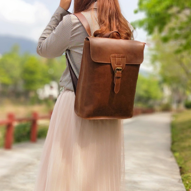 Vintage Fashion Design Women Backpack 13 Laptop Bag Casual Leather High Grade Students School BagVintage Fashion Design Women Backpack 13 Laptop Bag Casual Leather High Grade Students School Bag