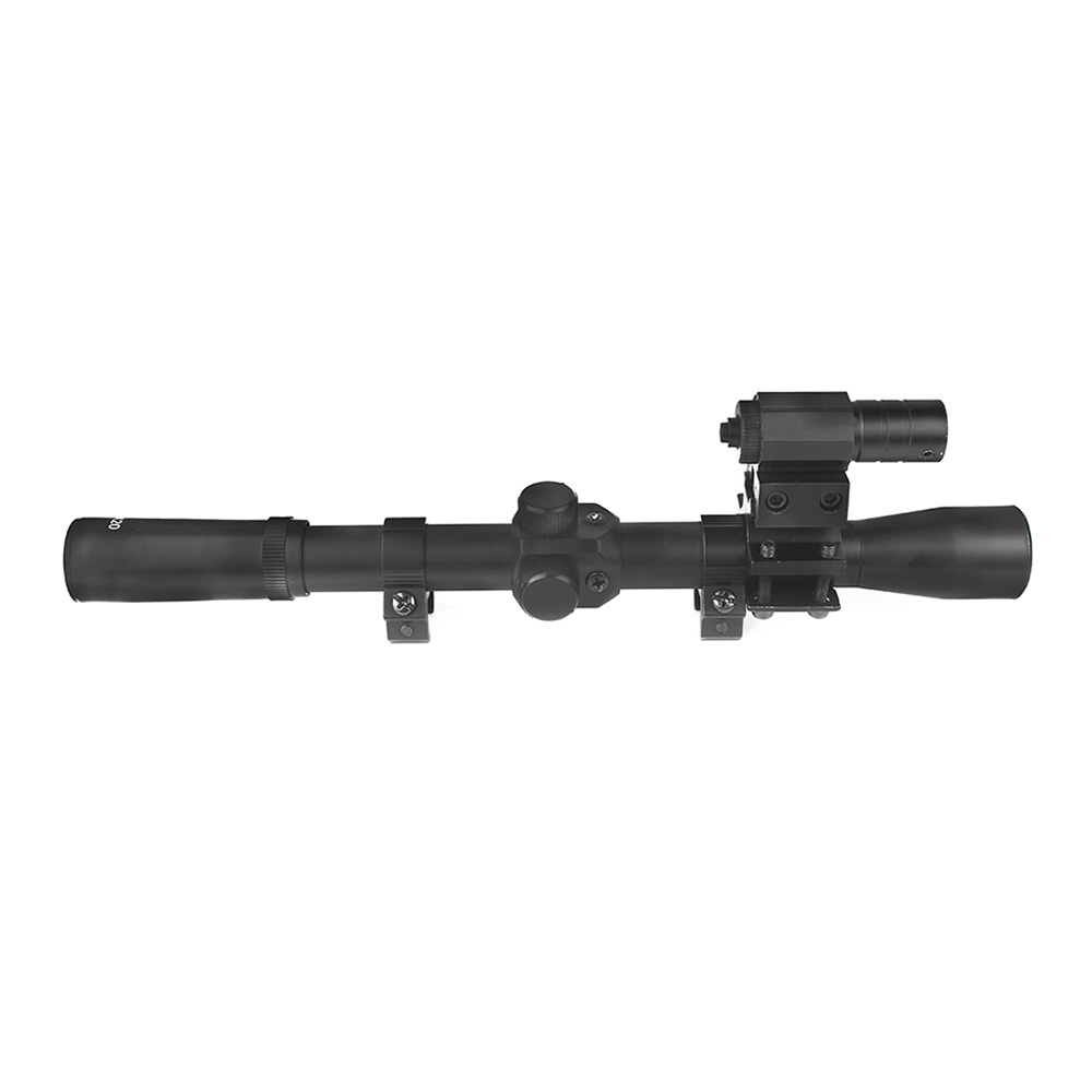 Image 3 - LUGER 4x20 Rifle Optics Scope Tactical Crossbow Riflescope With Red Dot Laser Sight 11mm Rail Mounts for 22 Caliber Guns Hunting-in Riflescopes from Sports & Entertainment