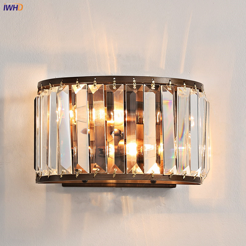IWHD American Country Crystal Wall Light Fixtures Bedroom ...