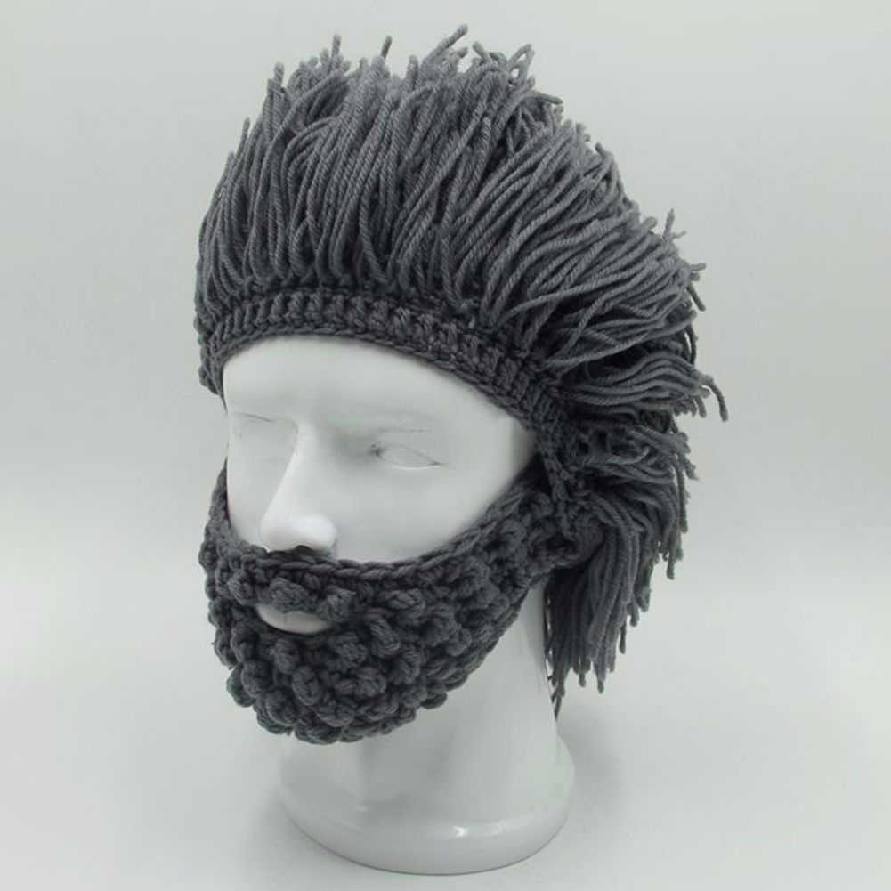 542a0a6e288 ... BBYES Cool Gifts Beard Hats Handmade Knit Warm Caps Halloween Funny  Party Beanies for Mad Scientist ...