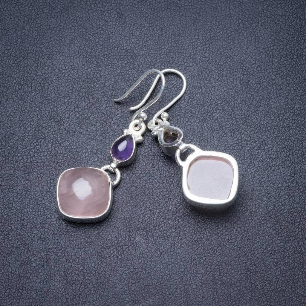 Natural Rose Quartz and Amethyst Handmade Unique 925 Sterling Silver Earrings 1 3/4