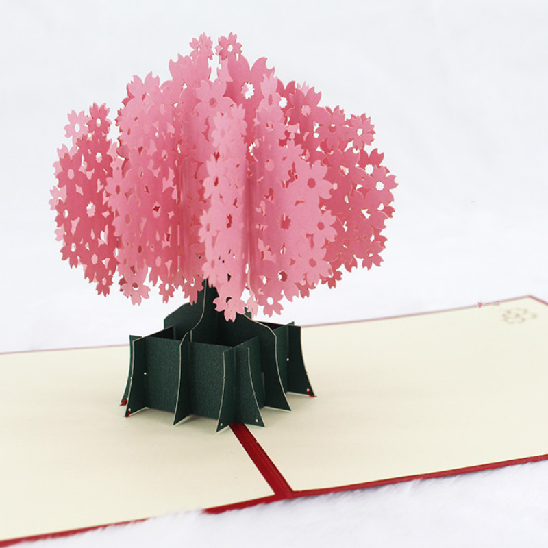 Love Card Letter Paper 3D Romantic Cherry Blossom Tree Card Handmade Paper Thanksgiving Mother's Day Wishing Love Wedding Card