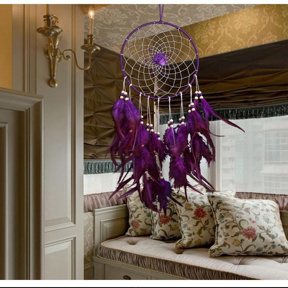 piękne dekoracje ślubne fioletowe pióro łapacz snów duże oblubienica pokój ścienny wiszące ozdoba Dreamcatcher ornament prezent