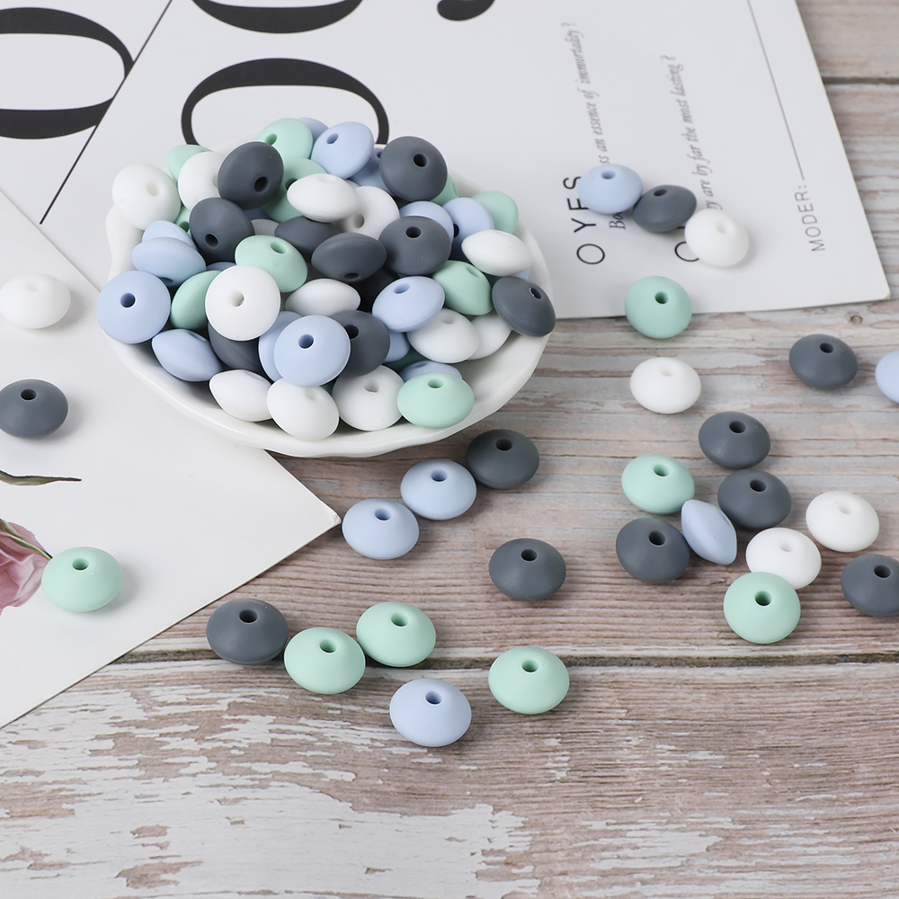 TYRY.HU 60Pcs Lentils Silicone Beads Baby Teething Teether Beads DIY Pacifier Chain Toys For Jewelry Making Colorful Loose Beads