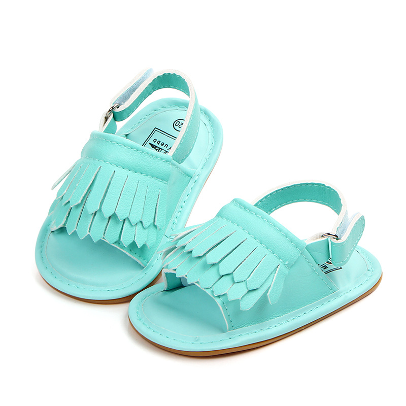 2019 Summer Baby Girl Shoes Newborn First Walkers Tassel Sandals For Girls Shoes Enfant Cow Muscle Sole Green Toddler Shoes Girl