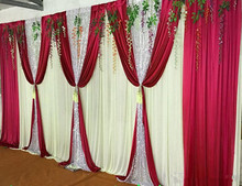 3M*6M backdrop with sequins swags wedding backcloth ice silk party curtain Wedding Party Stage Celebration Background graduation