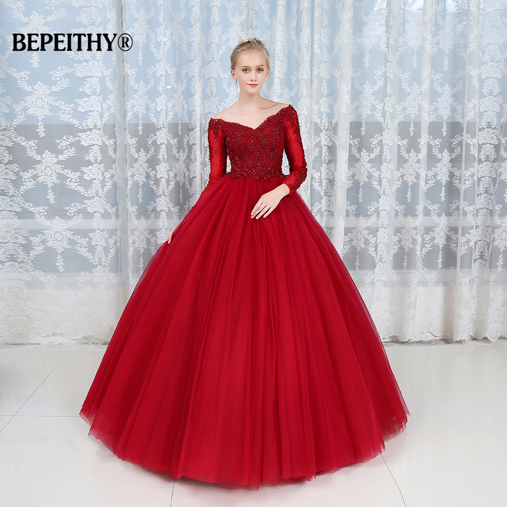 Robe De Soiree Ball Gown Lace Top Evening Dress Party Elegant 2019 Long Sleeves Floor Length