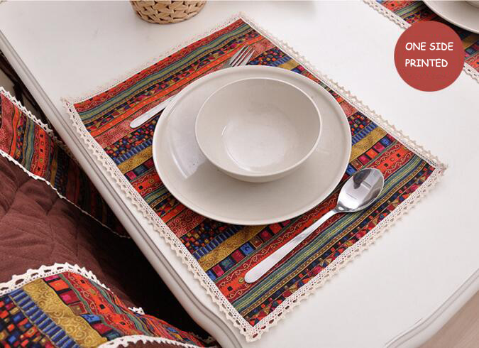 Fyjafon 2/4/6pieces Set Kitchen Table Mats Cotton Linen Southeast Asia Table Napkin Decorative One Side Printed Placemats