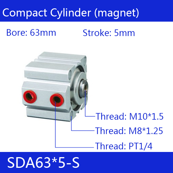 ФОТО SDA63*5-S Free shipping 63mm Bore 5mm Stroke Compact Air Cylinders SDA63X5-S Dual Action Air Pneumatic Cylinder