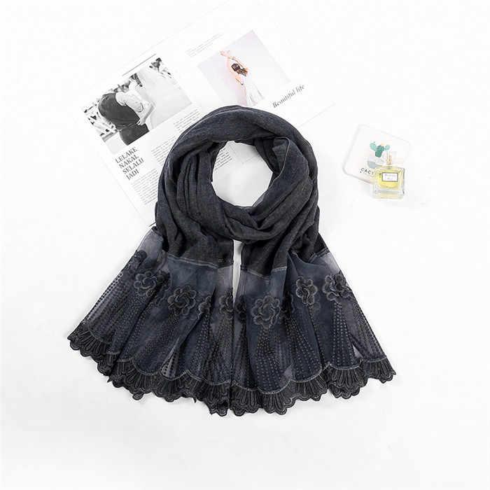 Самая красивая женская шаль пашмины шарф, Пляжный платок мусульманский кружевной шарф хиджаб для девочек