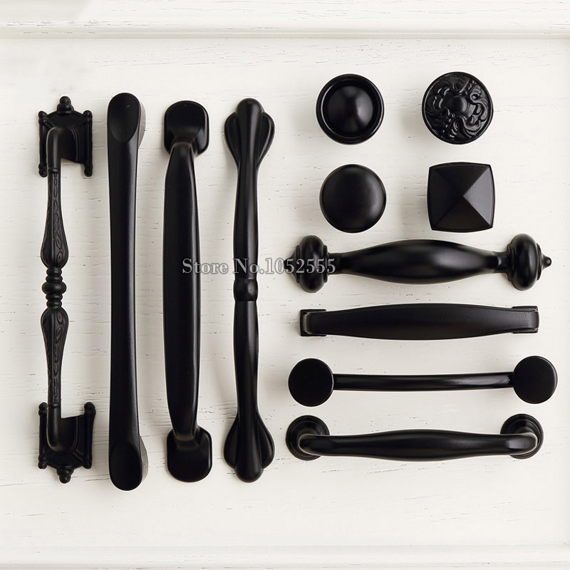 High Quality 10PCS European Classic Black Kitchen Cabinet Door Handles Drawer Cupboard Wardrobe Furniture Pulls Handles & Knobs black european simple kitchen cabinet door handles drawer cupboard vintage pulls knobs furniture accessories knob 96 128mm