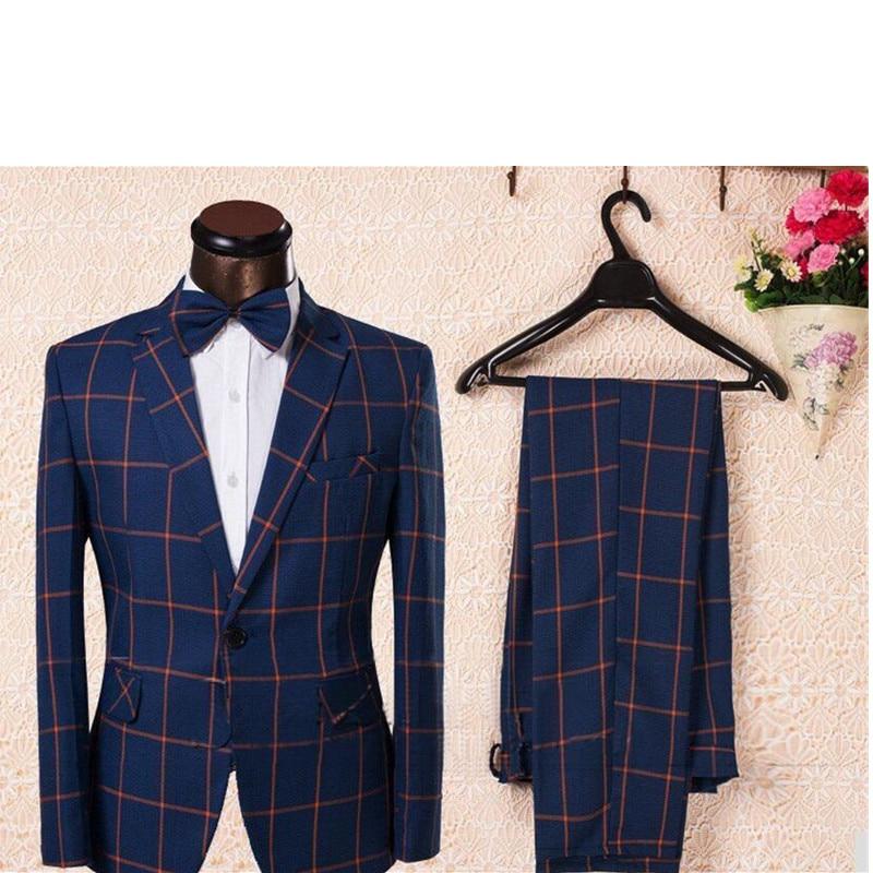 hommes la mode de costume homme costume pantalon bleu carreaux costume custom made robes de. Black Bedroom Furniture Sets. Home Design Ideas