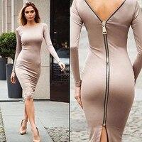 Guaina aderente dress manica lunga vestiti da partito abbigliamento donna torna completa zipper robe sexy femme matita stretto dress vestidos