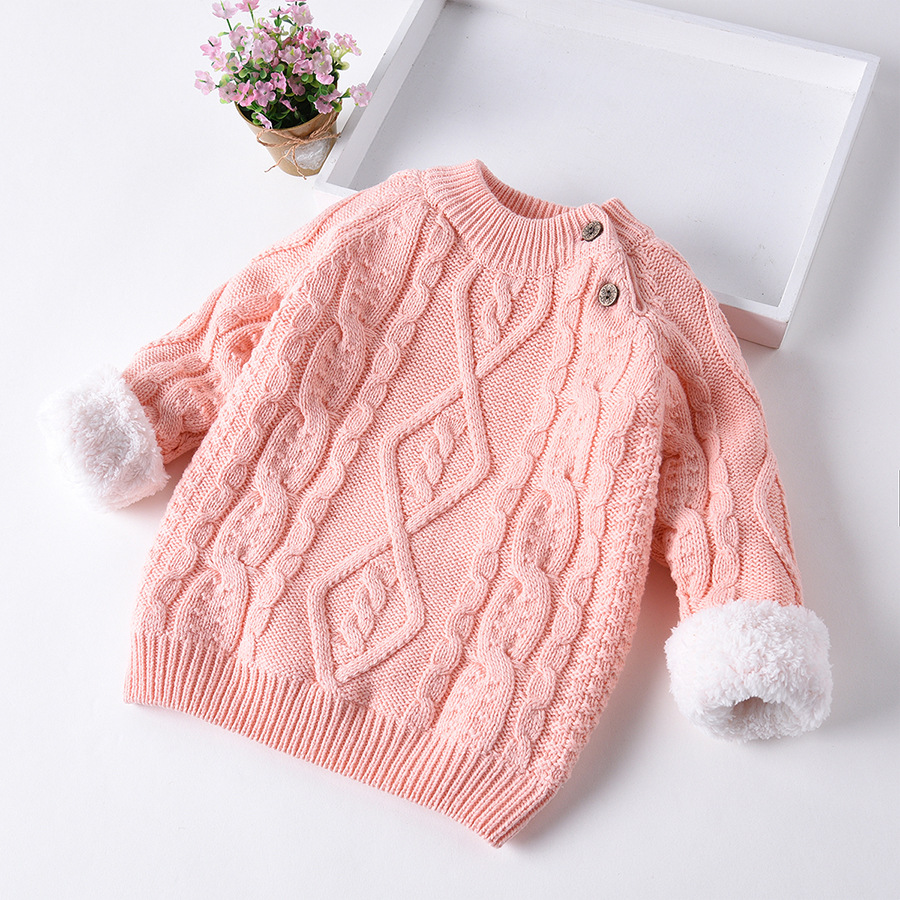New Autumn Winter Warm Velvet Boys Girls Sweater Toddler Girls Thick Knitwear Child Kids Bottoming O-Neck Pullovers Sweater P229 back to school outfits boys sweater 2018 new autumn children knitwear o neck boys wool sweater kids fashion outerwear 10 12 year