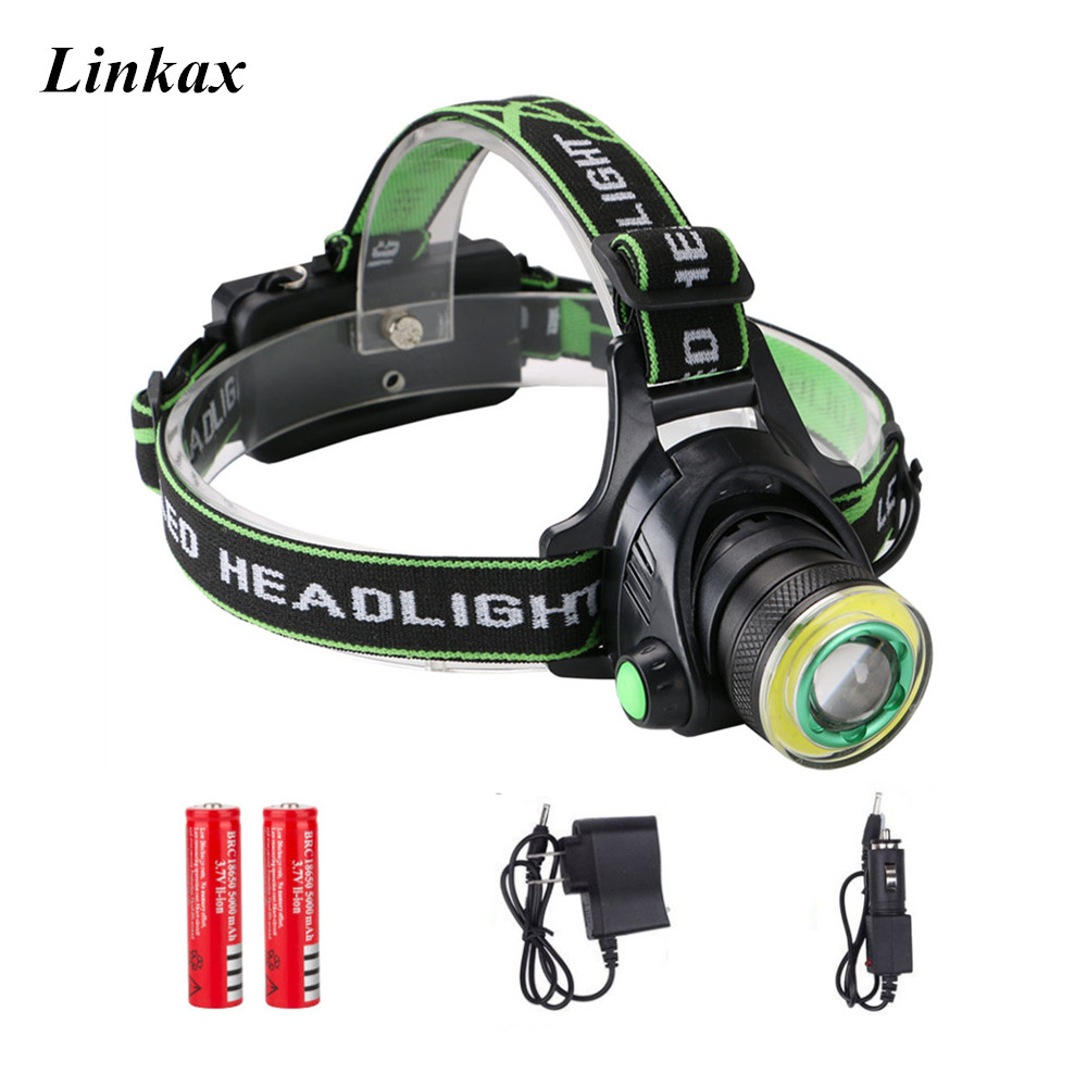 2018 Rechargeable 1*XML-T6+1*COB LED Headlamp Headlight Power Head Torch Flashlight 4-Mode 18650 For Outdoor Hiking Camping usb rechargeable headlight cob led headlamp 3 modes head torch flashlight for camping use 2 18650 batteries
