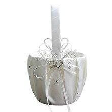 Белый цветок девушка корзины для свадебных сувениров корзина подружки невесты корзина для лепестков свадебные аксессуары